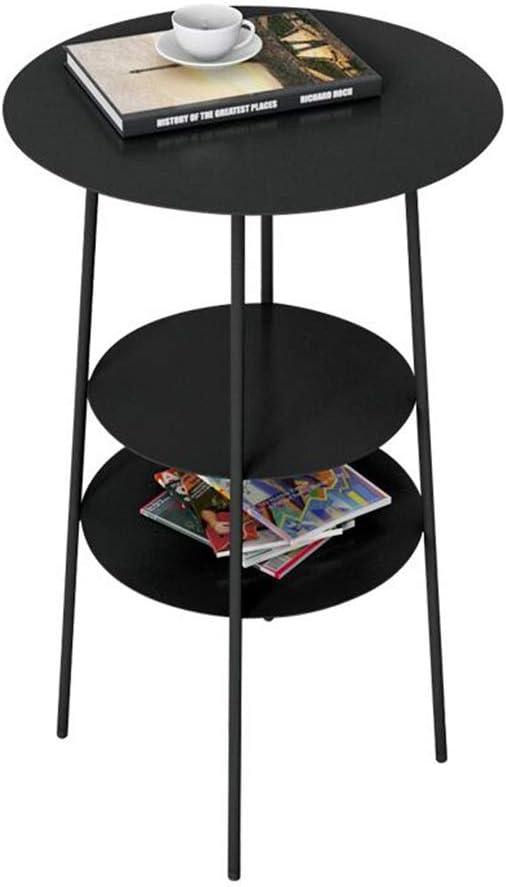 Winkel JCNFA BIJZETTAFEL Side Table Sofa Side Table Small Round Table smeedijzer Nachtkastje 3-laags ontwerp, goud, zwart (Color : Gold) Black gEVBRlH