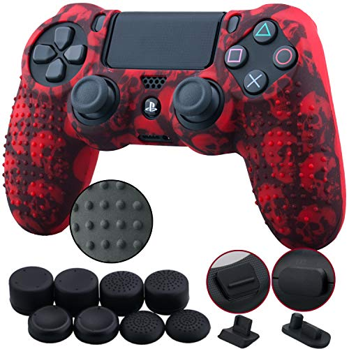 9CDeer 1 Piece of Silicone Studded Water Transfer Protective Sleeve Case Cover Skin + 8 Thumb Grips Analog Caps + 2 dust proof plugs for PS4/Slim/Pro Dualshock 4 Controller, Skull Red ()