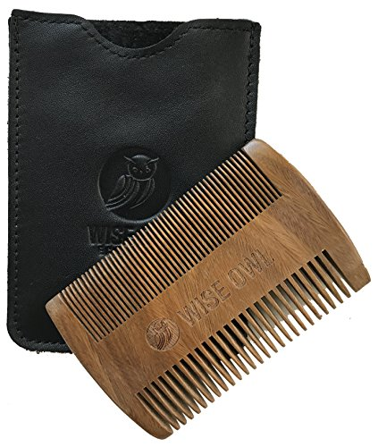 WiseOwl Wooden Beard Comb and Mustache Comb for Men with Genuine Leather Case -Premium Sandalwood Beard Comb for Men Bread Grooming (Pocket Size, Dual-Action)