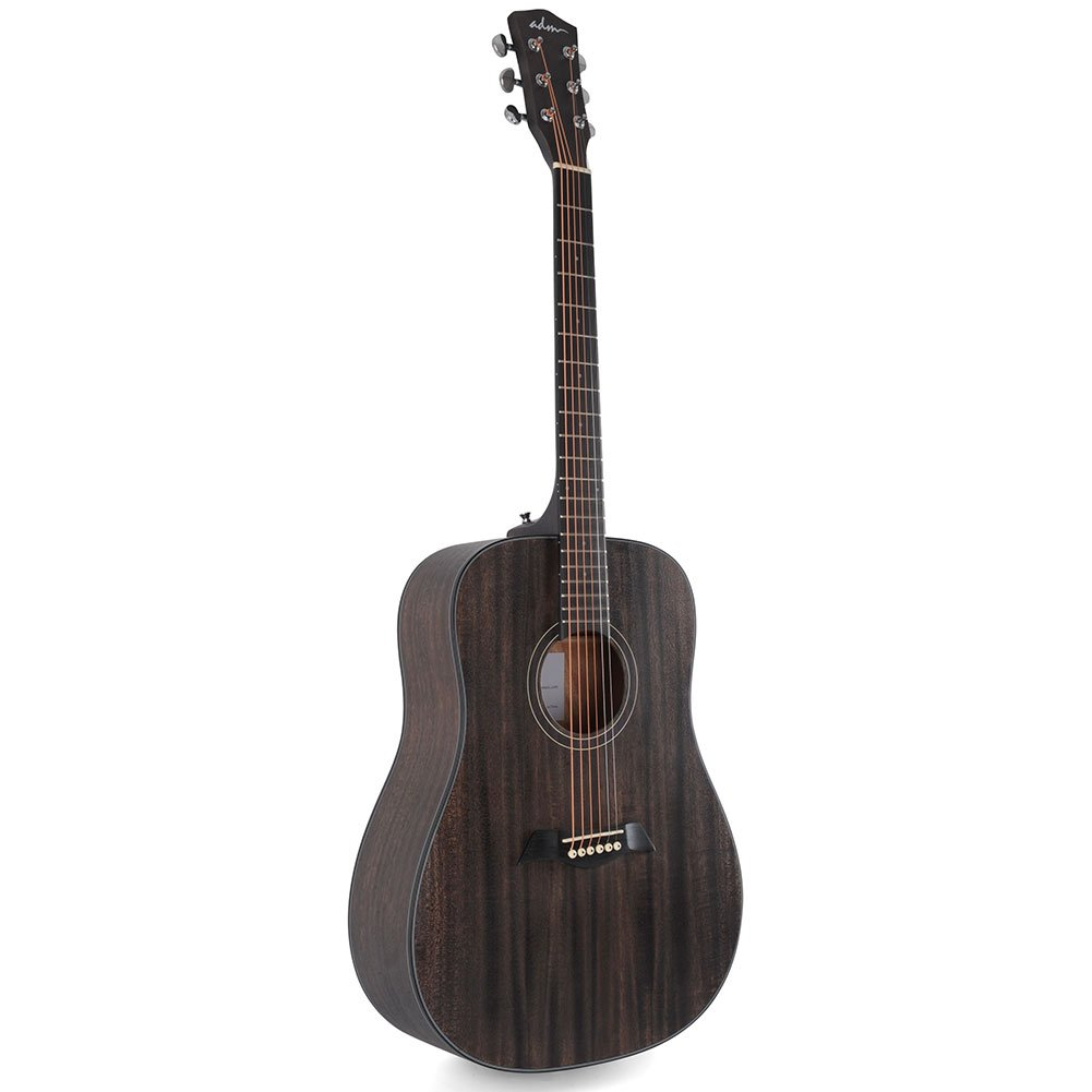 ADM 41 Inch Hand Rubbed Varnish Acoustic Guitar with Steel Strings, Deluxe Matt Grey - FREE Gig Bag Included JA441