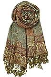 Achillea Soft Silky Reversible Paisley Pashmina Shawl Wrap Scarf w/Fringes 80' x 28' (Sage Green)