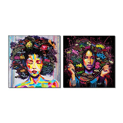 (AGCary 2 Pcs Unframed African American Art Wall Decor Painting Canvas Afro Girl Painting Pop Graffiti Style Painting on Canvas Poster Print Without Frame (16