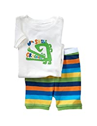 Hooyi Baby Boy Sleepwear Cotton Short Sleeve Crocodile Pajamas Set