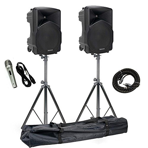 American Audio 15'' Wireless Speakers + ADJ Speaker Stands + Microphone + Cable by American Audio