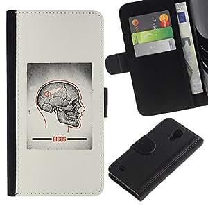 All Phone Most Case / Oferta Especial Cáscara Funda de cuero Monedero Cubierta de proteccion Caso / Wallet Case for Samsung Galaxy S4 IV I9500 // Skull Grey Anatomy Brain Medical