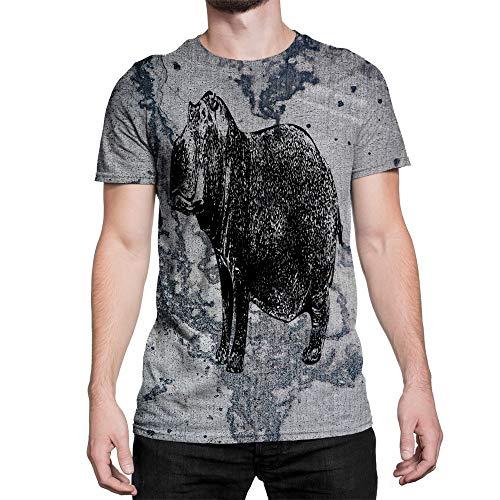 Idakoos Animal River Hippopotamus 3D - Men T-Shirt Polyester L