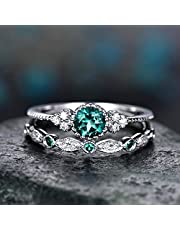 Wedding Rings Set for Him and Her 2Pcs Sparkling Natural Gemstone Ring Set Women Emerald Sapphire Rings Wedding Rings for Girlfriend Mother