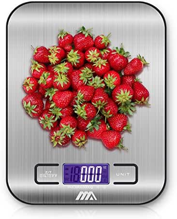 Adoric Food Scale, Digital Kitchen Scale - Multifunction, 1g/0.002lbs to 11lbs capacity, Easy to Clean, Stainless Steel