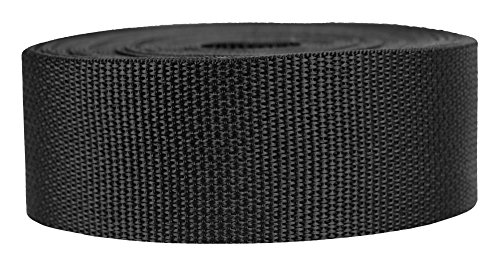Webbing Nylon Heavy - Strapworks Lightweight Polypropylene Webbing - Poly Strapping for Outdoor DIY Gear Repair, Pet Collars, Crafts – 2 Inch x 10 Yards - Black