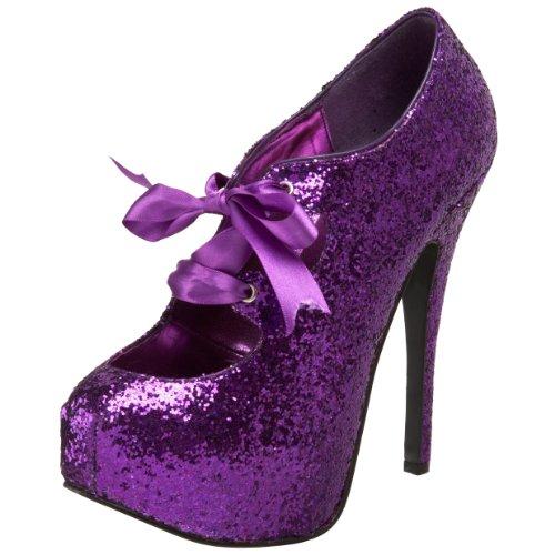 Bordello by Pleaser Women's Teeze-10G Pump,Purple Glitter,6 M US