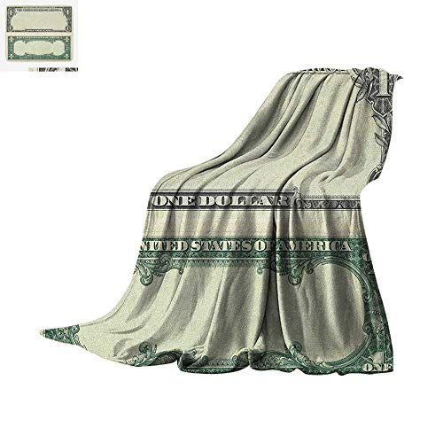Money Super Soft Lightweight Blanket One Dollar Bill Buck Design American Federal Reserve Note Pattern Wealth Symbol Custom Design Cozy Flannel Blanket 50