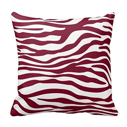 Burgundy Zebra Animal Print Cushion Throw Pillow Cover 26 x 26 In