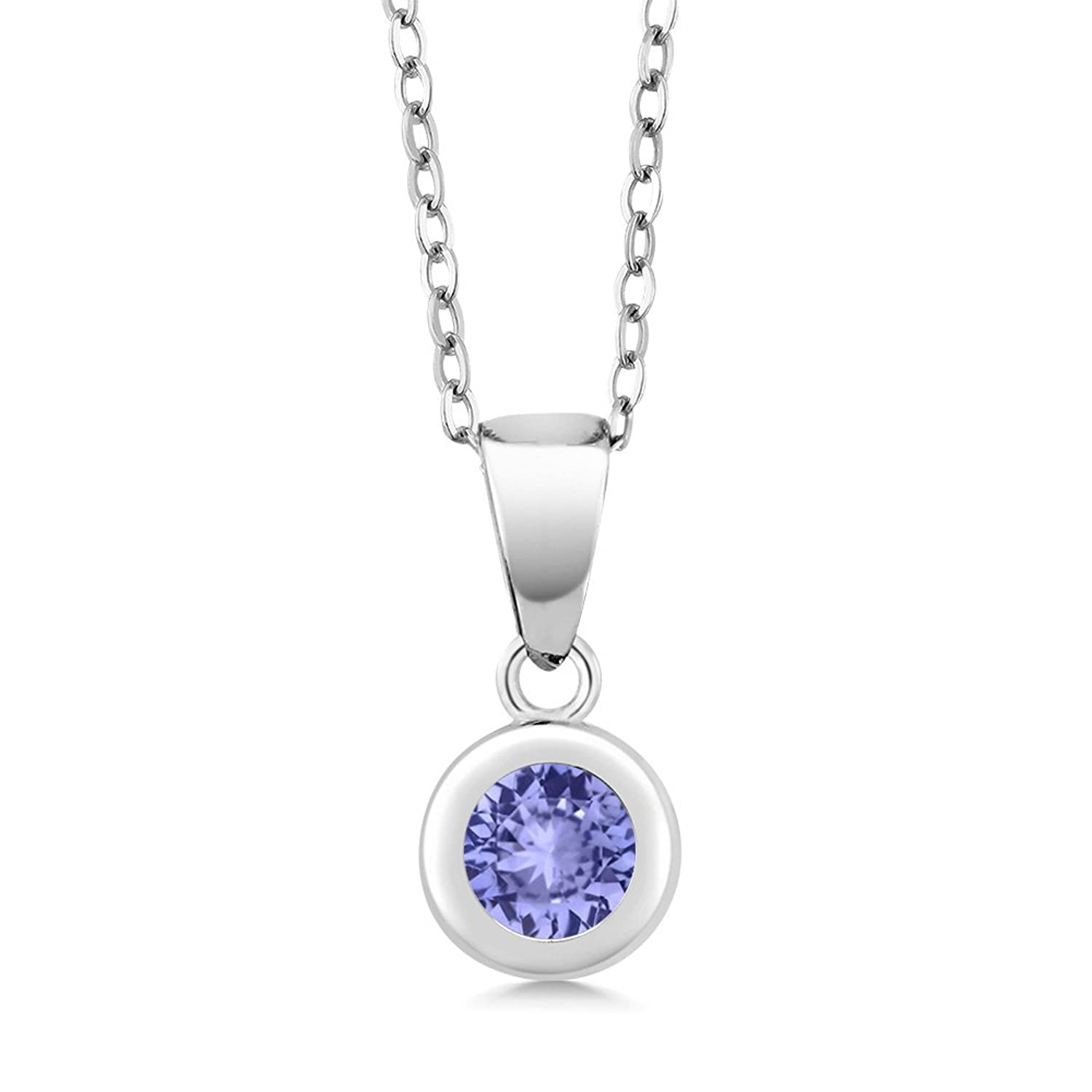 0.46 Ct Round Blue Tanzanite 925 Sterling Silver Pendant With Chain