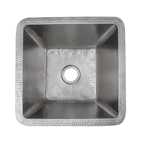 Square Copper Prep Sink in Electroless Nickel with Drain