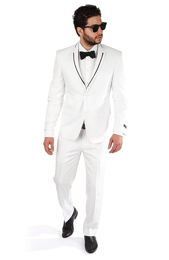 Slim Fit White Tuxedo Fashion Suit with Modern Black Trim By Azar ...