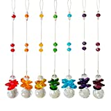 Newmerry Rainbow Crystal Suncatcher Pack of 7 Chakra Crystals Pendant for Office Home Garden Kitchen Window Hanging Prism Come with Hook Easy Hanging