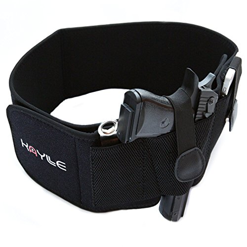 KAYLLE Belly Band Concealed Carry Holster - Neoprene Elastic Inside Waistband Gun Holster for Women & Men - Fits Glock 17 19 43 30s 23 26 22 23 9mm Ruger Sig Sauer Bodyguard Springfield S&W M&P (Left)