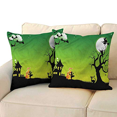 Godves Pillow Covers Halloween Dancing Witch for Sofa Bedroom Car 18