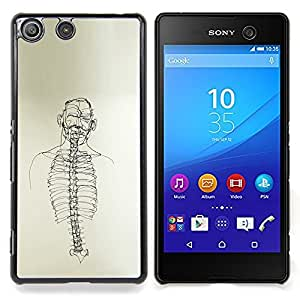 - Skeleton Spine Art Black White Pencil Drawing - - Snap-On Rugged Hard Cover Case Funny HouseFOR Sony Xperia M5