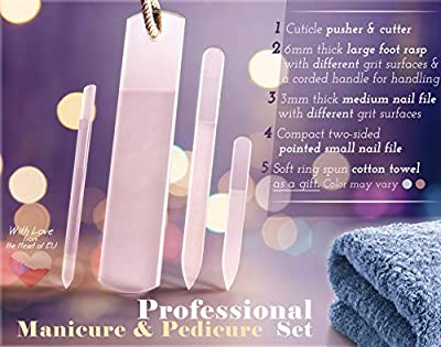 Professional Tempered Glass Nail File Set - for Manicure Pedicure, Callus Remover Foot Rasp, Spa Wet & Dry Use, Double Side Different Grit Surface Never Wears Out, Gift Towel & PVC sleeves, EU Quality
