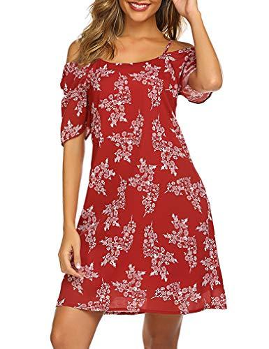 Naggoo Women's Summer Chiffon Bohemian Floral Printed Cold Shoulder Loose Short Dress Wine Red S