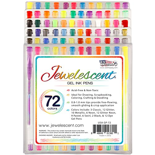 US Art Supply Jewelescent 72 Color Gel Pen Set- Professional Artist Quality Gel Ink Pens in Vibrant Colors - Classic, Glitter, Metallic, Neon, Pastel, Swirl and Dye Colors 100% Satisfaction Guarantee (Dye Glitter)
