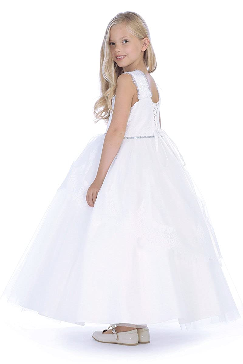 Angels Garments DR-5209 White Tulle /& Lace Dress w//Thick Sleeve Straps