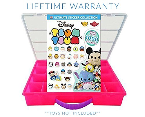 Tsum Tsum Sticker Book + Case, Toy Storage Carrying Box. Figures Playset Organizer. Accessories For Kids by LMB