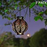 MAGGIFT 2 Pack Hanging Solar Lights Outdoor Solar