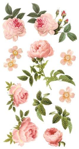 DCWV Wall Art Tea Roses, Peel-Stick, Multi Glitter