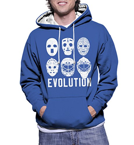 HAASE UNLIMITED Mens Hockey Masks Evolution Two Tone Hoodie Sweatshirt (Large, Royal Blue/White String)