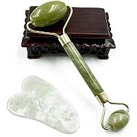 Masajeador de rodillos de jade para masajes faciales antienvejecimiento, gua, sha, raspar, masajeador, terapia, rodillo facial de jade 100% natural, anti arrugas y rejuvenecimiento de la piel, 1 juego