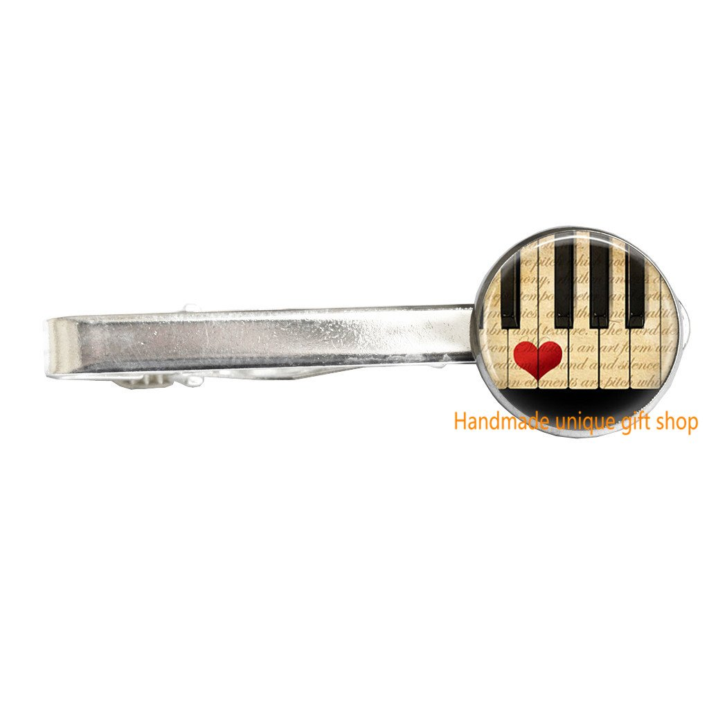 A Handmade unique gift shop Delicate Tie Clip,Fashion Tie Clip,Music Jewelry Piano Tie Clip Keyboard Musicians Art Tie Pin-RC126 Music Jewelry Piano Tie Clip Keyboard Musicians Art Tie Pin-RC126