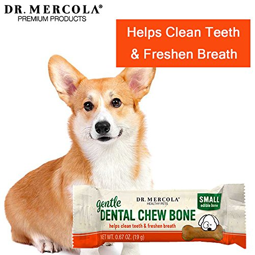 Image of Dr. Mercola Gentle Dental Chew Bones -  12 Pack - Small Dogs Up To 25 lbs - Helps Clean Teeth and Freshen Breath -  A Completely Digestible Tasty Oral Care Treat for Older Dogs