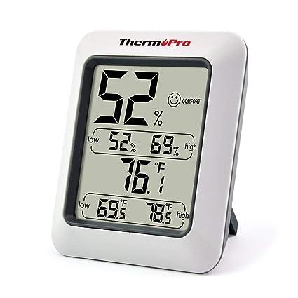 38190412b ThermoPro TP50 Termómetro Higrometro Digital para Interior Termohigrómetro  Medidor Profesional para Medición de Temperatura y Humedad