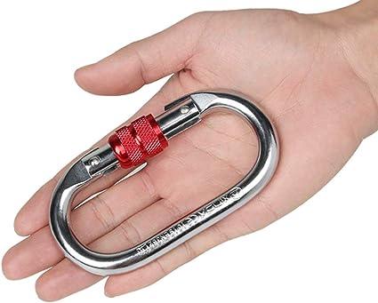 Mu Mianhua Mosquetón de escalada 25KN de acero duro plateado con cierre mosquetón en forma de O gancho de escalada con puerta de rosca 4 juegos