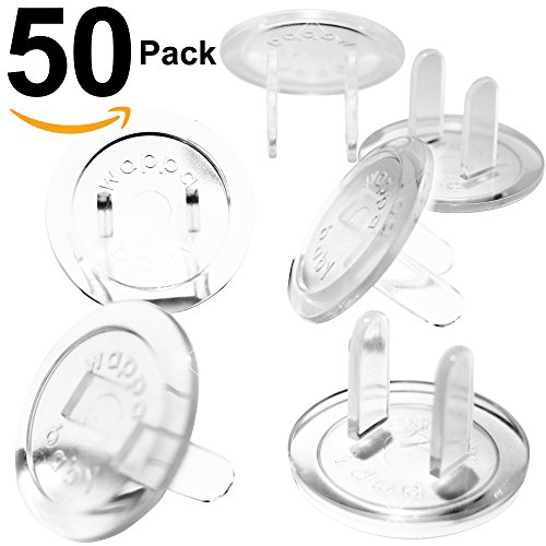 Ultra Clear Outlet Covers – VALUE PACK 50 Count Premium Quality – New & Improved Baby Safety Plug Covers – Durable & Steady – Pack Of 50 Transparent Plugs