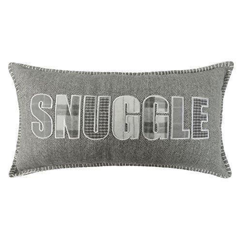 Boudoir Cushion (FILLED BOUDOIR SILVER GREY SNUGGLE HERRINGBONE THROW PILLOW SCATTER CUSHION TO MATCH DUVET 28 X 48CM - 11