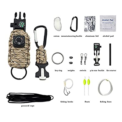 Emergency Survival Kits with Carabiner, Tin Foil, Fire Starter and Fishing Tools Survival Bracelet from Momsbabe