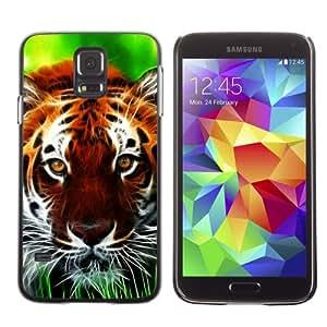 iKiki-Tech Estuche rígido para Samsung Galaxy S5 - Tiger In Grass