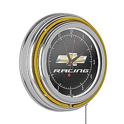 Trademark Gameroom Chevrolet Chrome Double Rung Neon Clock - Chevy Racing