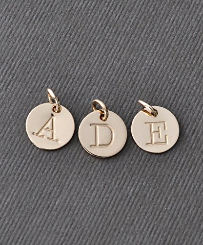 Round Gold Filled Initial Charm - Handstamped Letter Charm - 9.5 mm