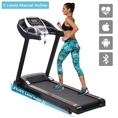 Folding Electric Treadmill, APP Bluetooth Control Running Machine with 2 Levels Manual Incline for Indoor Commercial Home Gym Fitness Exercise (US STOCK)