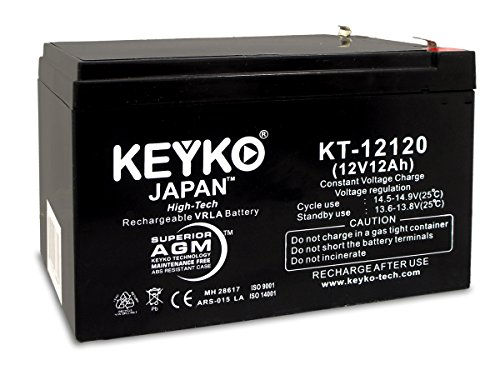 12ah Sealed Lead Acid Battery (KEYKO Genuine KT-12120 12V 12Ah Rechargeable Battery SLA Sealed Lead Acid / AGM Replacement - F2 Terminal)