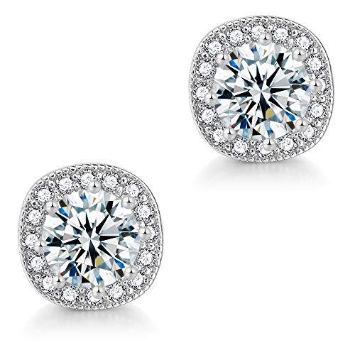 CZ Stud Earrings For Women - 18k White Gold Plated Cubic Zirconia Cushion Shape Halo Stud Earrings