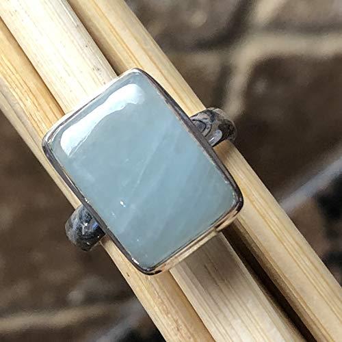 Natural Cabochon Aquamarine 925 Solid Sterling Silver Emerald Shape Ring sz ()
