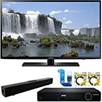 Samsung 55 1080p 120Hz Full HD LED Smart HDTV (UN55J6201) with HDMI HD DVD Player, Solo X3 Bluetooth Home Theater Sound Bar, 2x 6ft High Speed HDMI Cable & Screen Cleaner for LED TVs