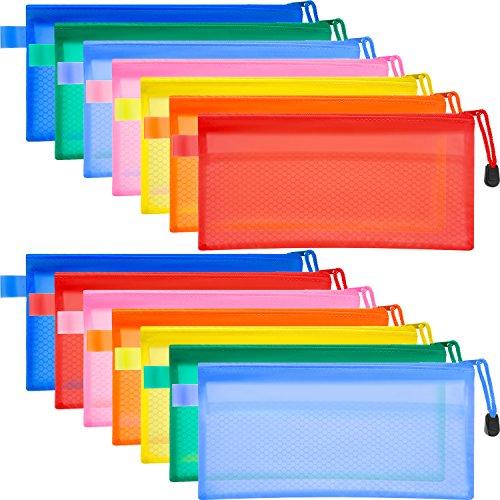 Bememo 14 Pieces 7 Colors Waterproof Zipper Pouch Pen Pencil Pouch Plastic Double Layer File Bag