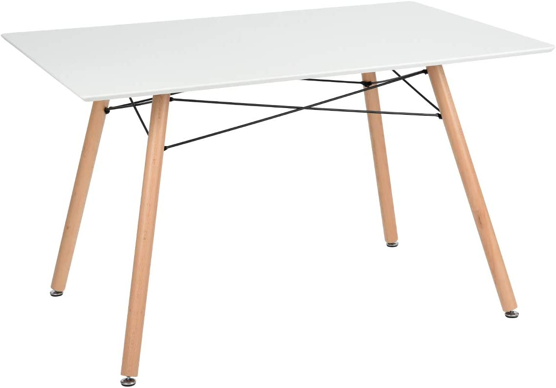 GreenForest Dining Table Rectangular Top Modern Leisure Coffee Table Home and Kitchen 44 x 30 White