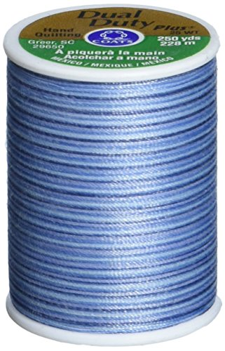 Multi Color Hand Quilting Thread - Coats: Thread & Zippers Dual Duty Plus Hand Quilting Thread, 250-Yard, Blue Clouds